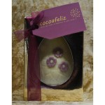 flowers Easter egg in white chocolate